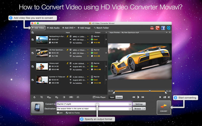 دانلود HD Video Converter Movavi برای مک